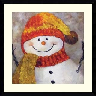 Framed Art Print 'Snowman' by Cheri Wollenberg 21 x 21-inch