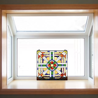 River of Goods 18' MIssion Style Southwest Stained Glass Window Panel