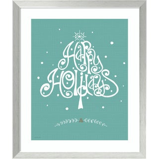 Framed Art Print 'Happy Holidays (Christmas)' by Jo Moulton 22 x 26-inch