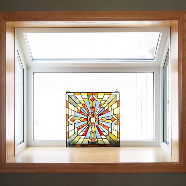18 Inch H Mission Style Stained Glass Clouds In The Sky