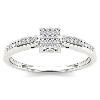 De Couer 10k White Gold 1/10ct TDW Diamond Cluster Engagement Ring - White H-I