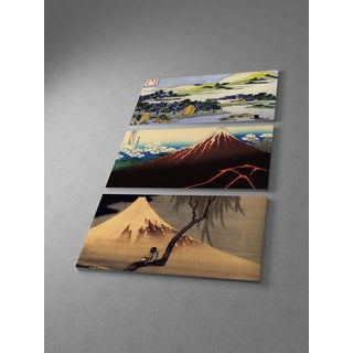 Classic Masters Hokusai Katsushika 'Mountains Collage' Triptych Gallery Wrapped Canvas Wall Art