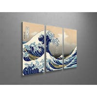 Classic Masters Hokusai Katsushika 'Great Wave off Kanagawa' Triptych Gallery Wrapped Canvas Wall Art