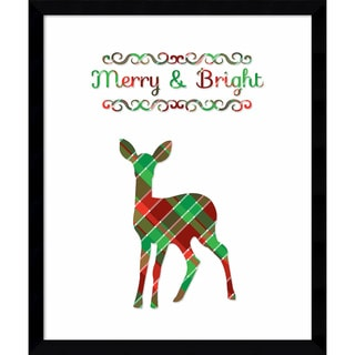Framed Art Print 'Plaid Deer Merry & Bright (Christmas)' by Tara Moss 16 x 19-inch