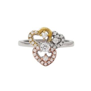 Luxiro Tri-color Gold Finish Cubic Zirconia Hearts Children's Ring
