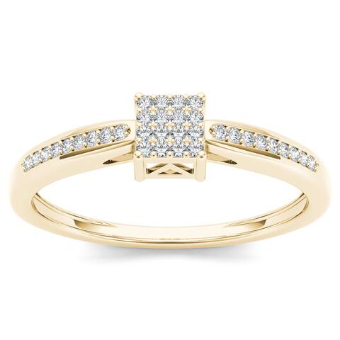 De Couer 10k Yellow Gold 1/10ct TDW Diamond Cluster Engagement Ring