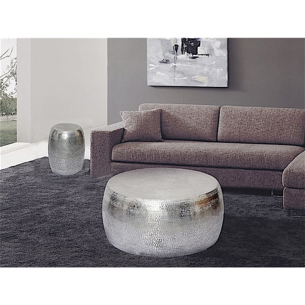 Marrakech Embossed Metal Round Side Table Stool Free