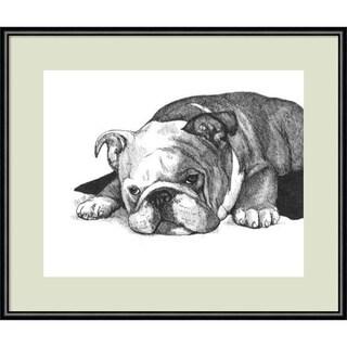 Framed Art Print 'Gracie the Bulldog' by Beth Thomas 13 x 11-inch