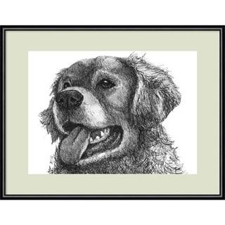 Framed Art Print 'Amber the Golden Retriever Dog' by Beth Thomas 13 x 11-inch