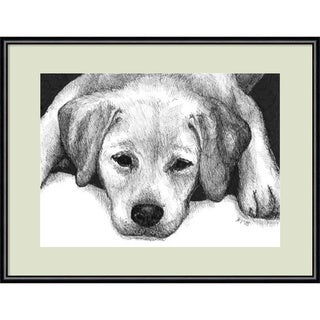 Framed Art Print 'Kailie the Yellow Lab Dog' by Beth Thomas 13 x 11-inch