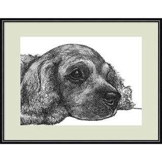 Framed Art Print 'Charlie the Cocker Spaniel Dog' by Beth Thomas 13 x 11-inch