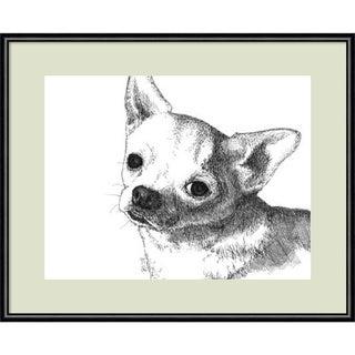 Framed Art Print 'Bruiser the Chihuahua Dog' by Beth Thomas 13 x 11-inch