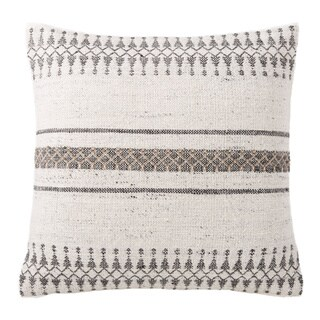 Tribal Pattern Ivory/Gray Feather Filled Throw Pillow 20 x 20(As Is Item)