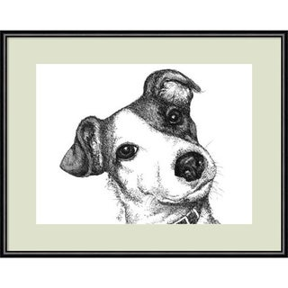 Framed Art Print 'Robbie the Jack Russell Dog' by Beth Thomas 13 x 11-inch
