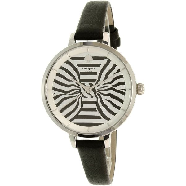 Kate Spade Women's 'Metro' Striped Black Leather Watch