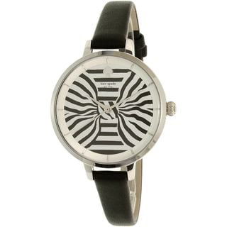 Kate Spade Women's KSW1032 'Metro' Striped Black Leather Watch