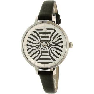 Kate Spade Women's KSW1032 'Metro' Striped Black Leather Watch