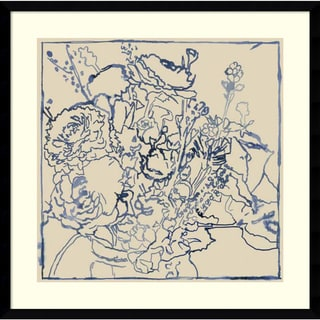 Framed Art Print 'Indigo Floral Sketch I' by Megan Meagher 25 x 24-inch