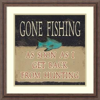Framed Art Print 'Gone Fishing' by Jo Moulton 22 x 22-inch