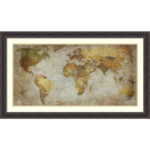 Framed Art Print 'Anima Mundi Map' by Joannoo 43 x 25-inch