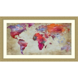 Framed Art Print 'World in colors Map' by Joannoo 43 x 25-inch
