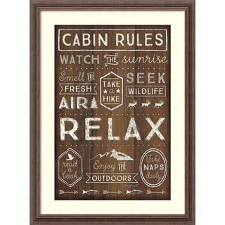 Framed Art Print 'Cabin Rules' by Jennifer Pugh 22 x 30-inch