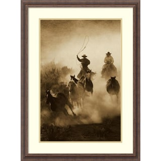Framed Art Print 'Horses herded by cowboy and cowgirl, Oregon - Sepia' by Konrad Wothe 23 x 31-inch