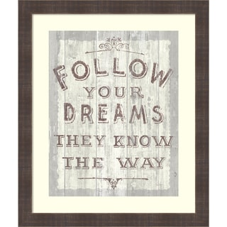 Framed Art Print 'Follow Dreams Driftwood' by Sue Schlabach 20 x 24-inch