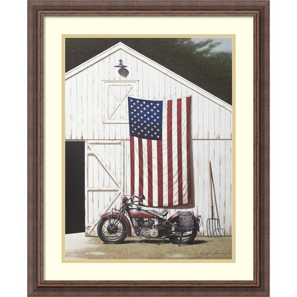 Framed Art Print 'Barn and Motorcycle' by Zhen-Huan Lu 22 x 27-inch. Opens flyout.