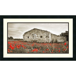 Framed Art Print 'Old farmhouse surrounded by red poppies, Tuscany' by Erwin Streit 30 x 18-inch