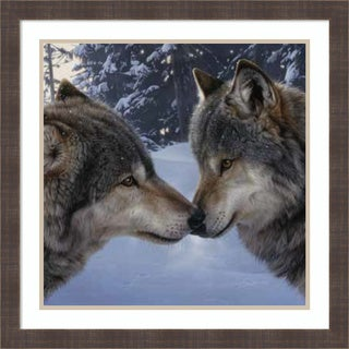 Framed Art Print 'Muzzle Nuzzle Wolves (detail)' by Daniel Smith 26 x 26-inch