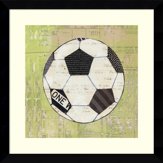 Framed Art Print 'Baseball Play Ball I Soccer' by Courtney Prahl 14 x 14-inch