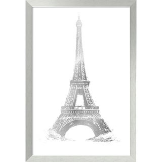 Framed Art Print 'Silver Foil Eiffel Tower Metallic Print' by Vision Studio 33 x 47-inch