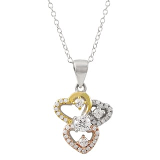Luxiro Tri-color Gold Finish Cubic Zirconia Hearts Children's Pendant Necklace