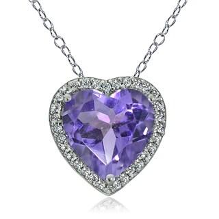 Glitzy Rocks Sterling Silver Gemstone Birthstone Heart Necklace