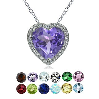 Glitzy Rocks Sterling Silver Gemstone Birthstone Heart Necklace