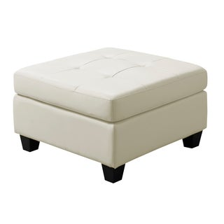Ivory Bonded Leather Ottoman
