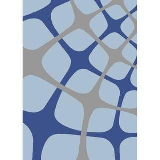 "Persian Rugs Tobi's Geometric Gray Blue Light Blue Squared Area Rug - 5'2"" x 7'2"""