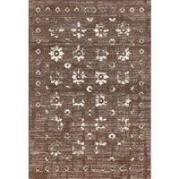 "Persian Rugs Beverly Collection Gold Brown Beige Antique Styled Area Rug - 7'10"" x 10'6"""