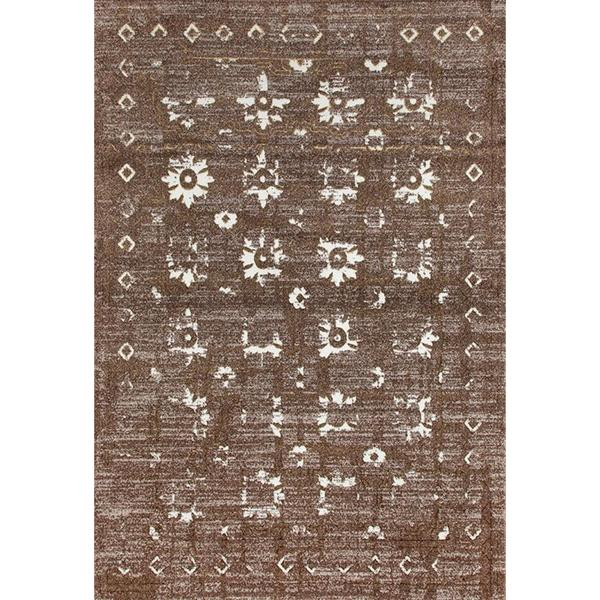 """Persian Rugs Beverly Collection Gold Brown Beige Antique Styled Area Rug - 7'10"""" x 10'6"""""""