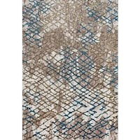 "Persian Rugs Beehive Designed Multi Colored Beverly Collection Modern Area Rug - Beige/Gold - 7'10"" x 10'6"""
