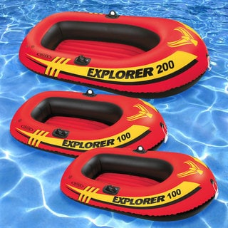 Intex Explorer 100 (2) and Explorer 200 (1) Inflatable Rafts (Pack of 3)