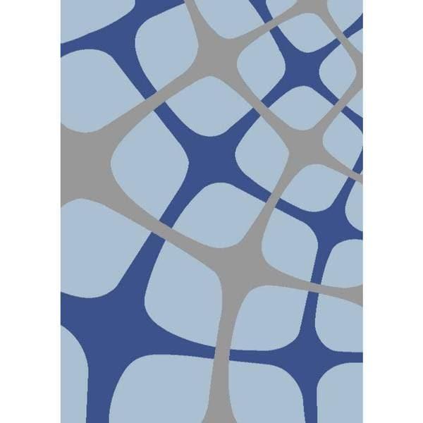 "Persian Rugs Tobi's Geometric Gray Blue Light Blue Squared Area Rug - 7'10"" x 10'6"""