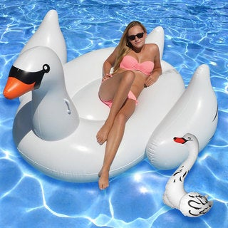 Giant Swan and Baby Swan White Vinyl Ride-on Pool Float Set