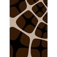 "Persian Rugs Tobi's Geometric Chocolate Brown Beige Squared Area Rug - 7'10"" x 10'6"""