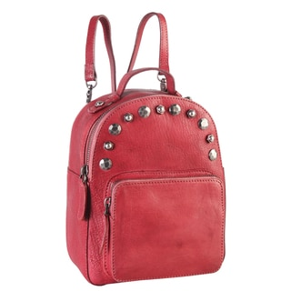 Diophy Distressed Genuine Leather Studded Fashion Backpack