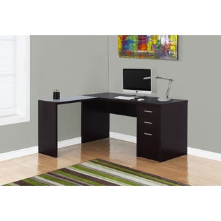 Cappucino Finish Tempered Glass Top Corner Desk