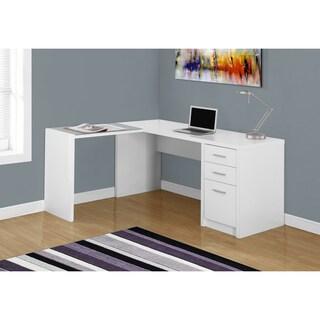White Wood/Tempered Glass Corner Computer Desk