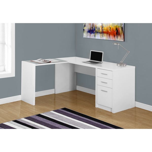 shop white wood tempered glass corner computer desk free shipping today 12298210. Black Bedroom Furniture Sets. Home Design Ideas