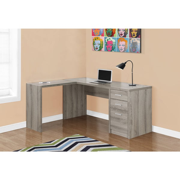 Beau Shop Dark Taupe Corner Computer Desk With Tempered Glass   Free Shipping  Today   Overstock   12298214